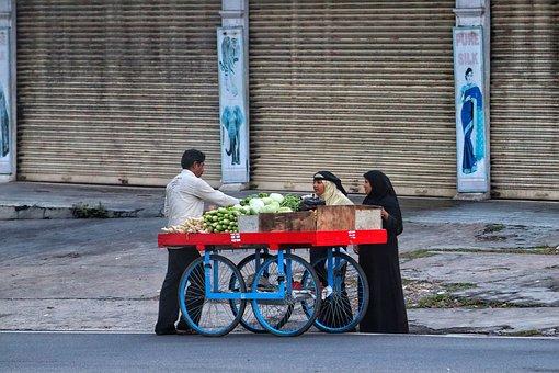 Street Traders, Vegetables, Mobile Shop, India, Dealer