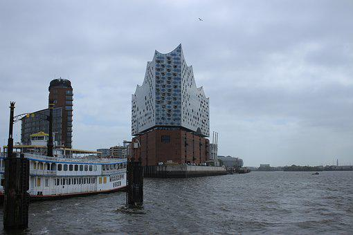 Hamburg, Elbe, Port, Water, Germany, Architecture