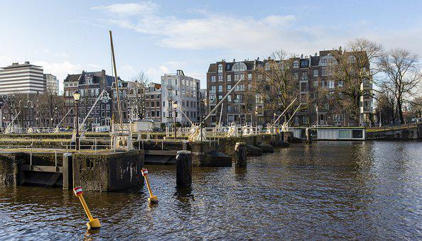 Amsterdam, Holland, Winter-time, Lock Gates