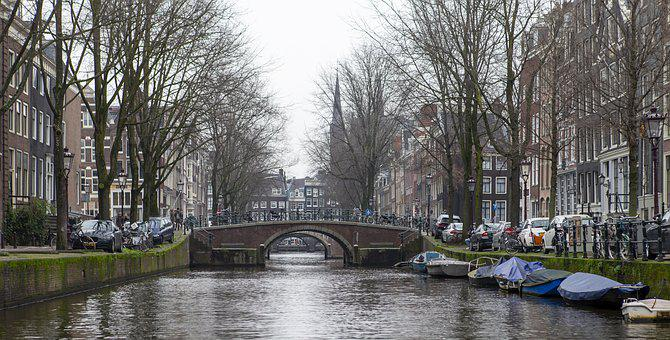 Amsterdam, Holland, Canal, Bridges, Boats, Architecture