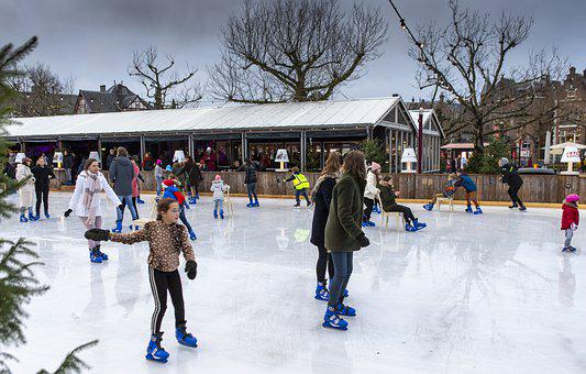 Amsterdam, Holland, Ice Rink, Outdoors, Ice Skating