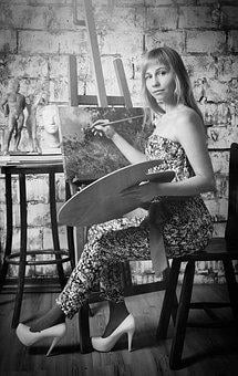 Artist, Easel, Palette, Paint, Creativity, Girl, Art