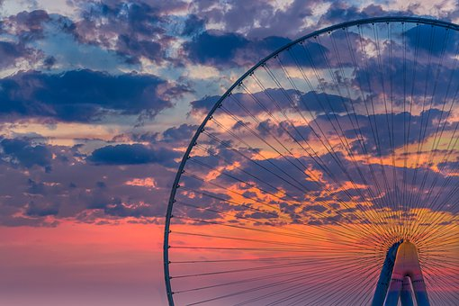 Ferris Wheel, Sky, Clouds, Sunset