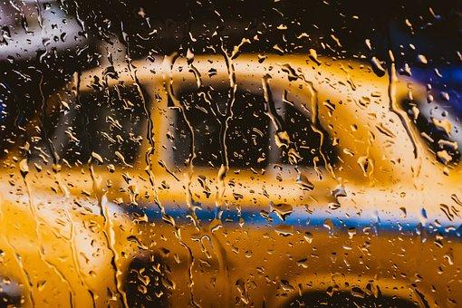 Taxi, Outdoor, Blurd, Water, Moist, Dew, Glass