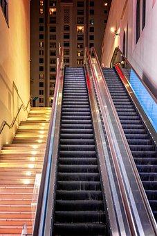 Escalator, Outdoor, Metal, Shiny, Emergence, Upright