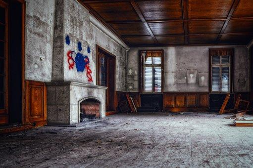 Fireplace, Salon, Old, Transience