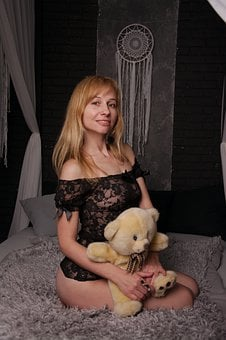Erotica, Girl With Soft Toy, Teddy, Bed
