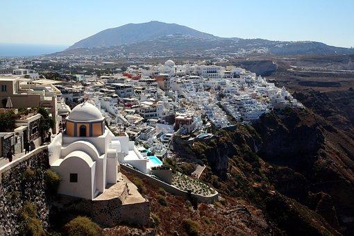 Fira, Greece, White, Santorini, Blue, Island