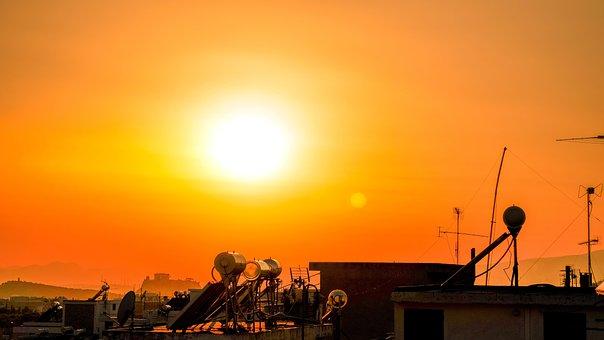 Sun, Sunset, Dusk, Sunny, Athens, Greece
