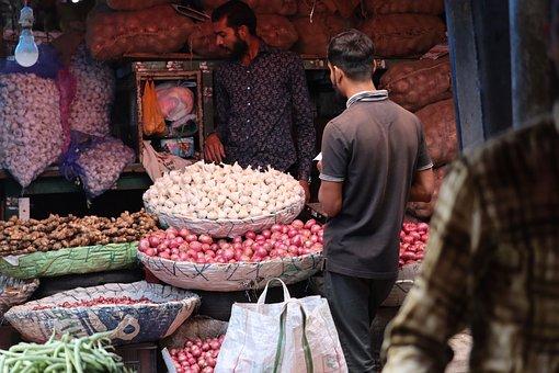 India, Market, Garlic, Onions, Ginger, Market Stall