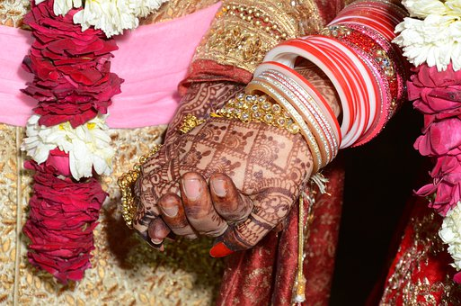 India, Marriage, Love, Couple, Hands