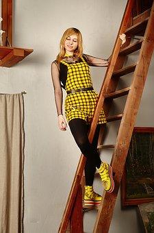 Jumpsuit, Plaid Fabric, Girl, Fashion, Model, View