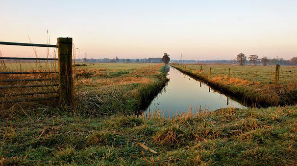 Winter, Ditch, Polder, Netherlands, Countryside