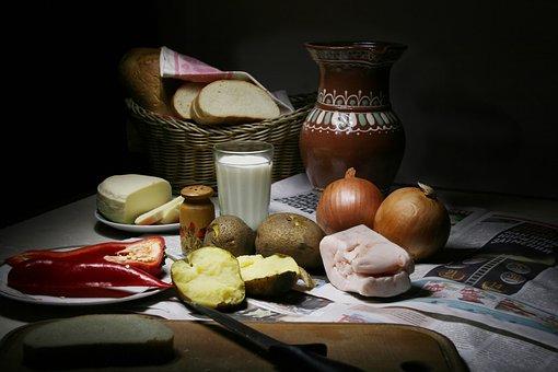 Peasant Dinner, Still Life, Fat, Onion, Potato, Pepper