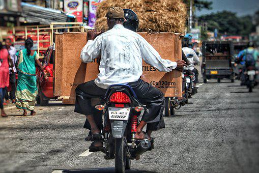 Motorcycle, Package, Parcel Delivery, India, Transport