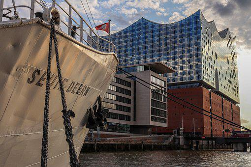 Hamburg, Port, Elbe, Water, Architecture, City