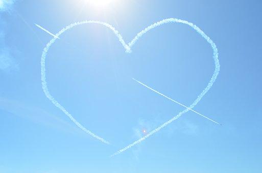 Red Arrows, Heart, Sky, Blue Heart, Blue Arrow
