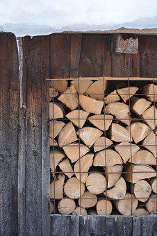 Logs, Wood, Snow, Icicle, Ice, House, Folded, Color