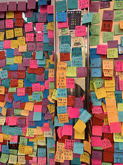 Hong Kong, Stickers, Posts Its, Colourful, Window, Wall