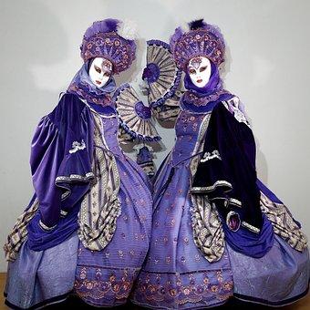 Costume, Mask, Venetian, Carnival, Panel, Italian