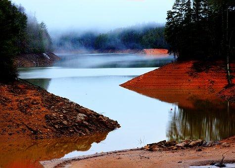 Lake, Fog, River, Water, Calm, Mood