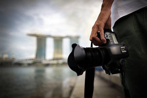 Photographer, Singapore, Hand, Camera, Hold, City