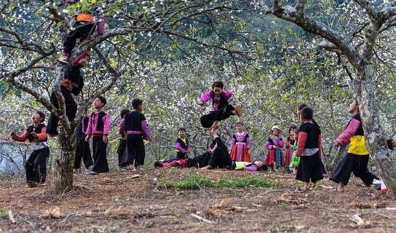 Kids, Play, Little, The Plum Flower