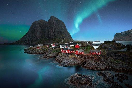 Lofoten, Hamnoy, Landscape, Aurora Borealis, Night