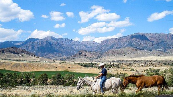 Montana, Cowboy, Horses, Scenery, Clouds, Equine