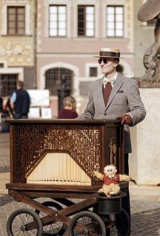 Man, Young, Suit, Epoch, Glasses, Sun, Hat, Box, Music