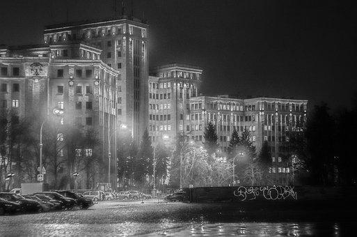 Black And White, Building, Night