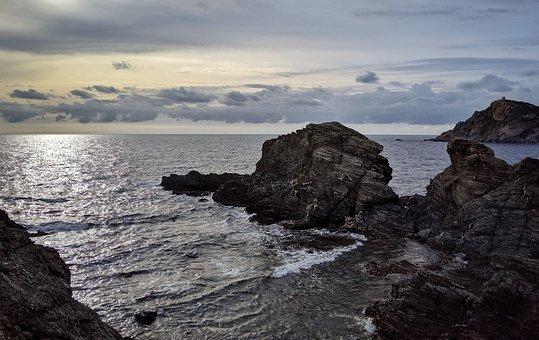 Sea, Island, Clouds, Grey, Rocks, Waves