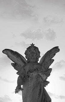 Angel, Statue, Sculpture, Figure, Hope, Cemetery, Stone
