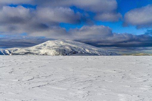 Landscape, Mountain, Snow, Winter, Sky, Clouds, Tron