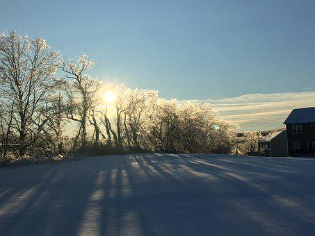 Sunset, Winter, Icy, Ice Storm, Sparkle, Brilliant, Sky