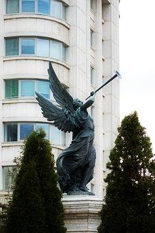 Statue, Metal, Angel, Wings, The Trumpet