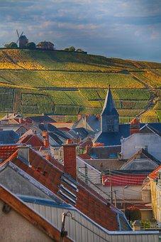 Landscape, Village, Vine, Champagne