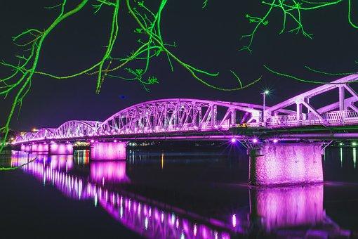Truong Tien Bridge, Hue Vietnam, Night, City, River