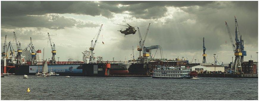 Hamburg, Elbe, Ships, Helicopter, Cranes, Shipyard