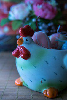 Happy Easter, Egg, Hen, Porcelain