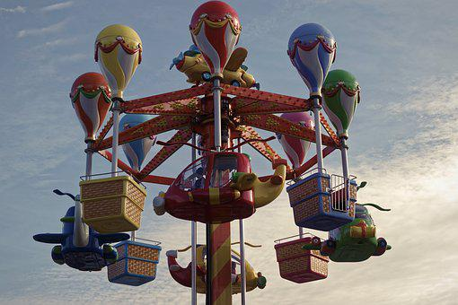 The Carousel, Coloring, Colors, Park, Fun, Kids, Sky
