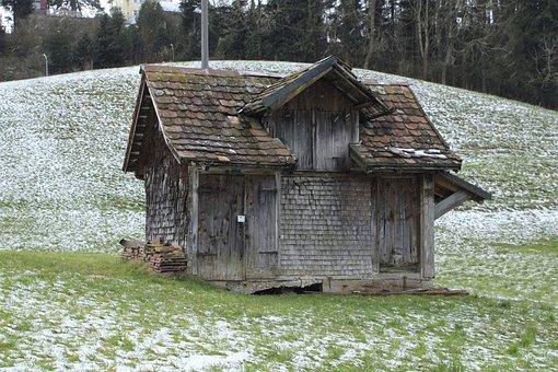 Cabin, Mountain Hut, Landscape, Forest, Snow, Nature