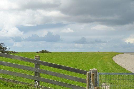 North Sea, Dike, Fence, Green, Meadow, Landscape, Grass
