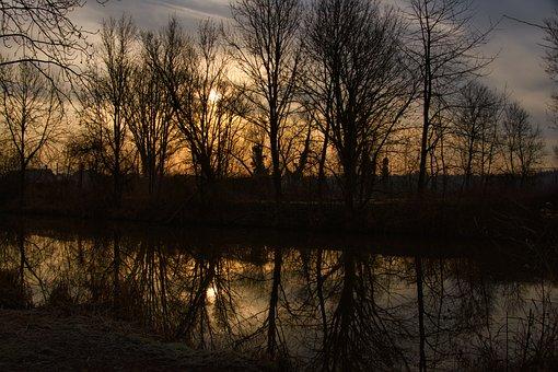 Morning, Sunrise, Winter, Mirroring