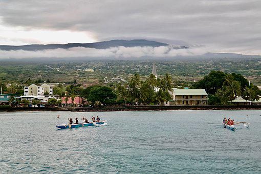 Boat, Rowing, Crew, Team, Mountain, Clouds, Panorama