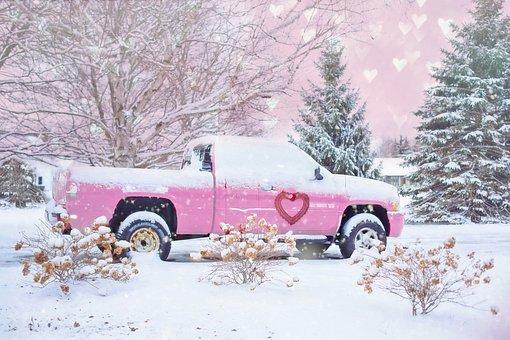 Valentine's Day, Valentines, Valentine, Pink, Truck