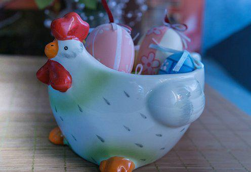 Happy Easter, Egg, Hen, Porcelain, Eggs Bowl, Painted