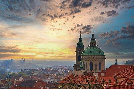 Prague, Sky, Czech Republic, Clouds