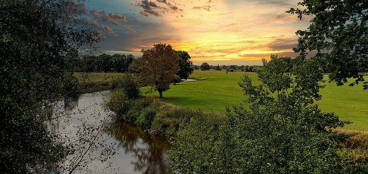 Garbsen, Leash, River, Lower Saxony, Sun