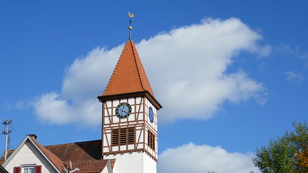 Clock, Church, Architecture, Bible, Sky, Blue Bible